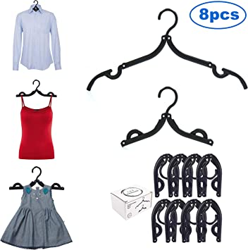 8Pcs Black Plastic Adult Hangers for hanging Dress Skirts Pants Shirts Wardrobe