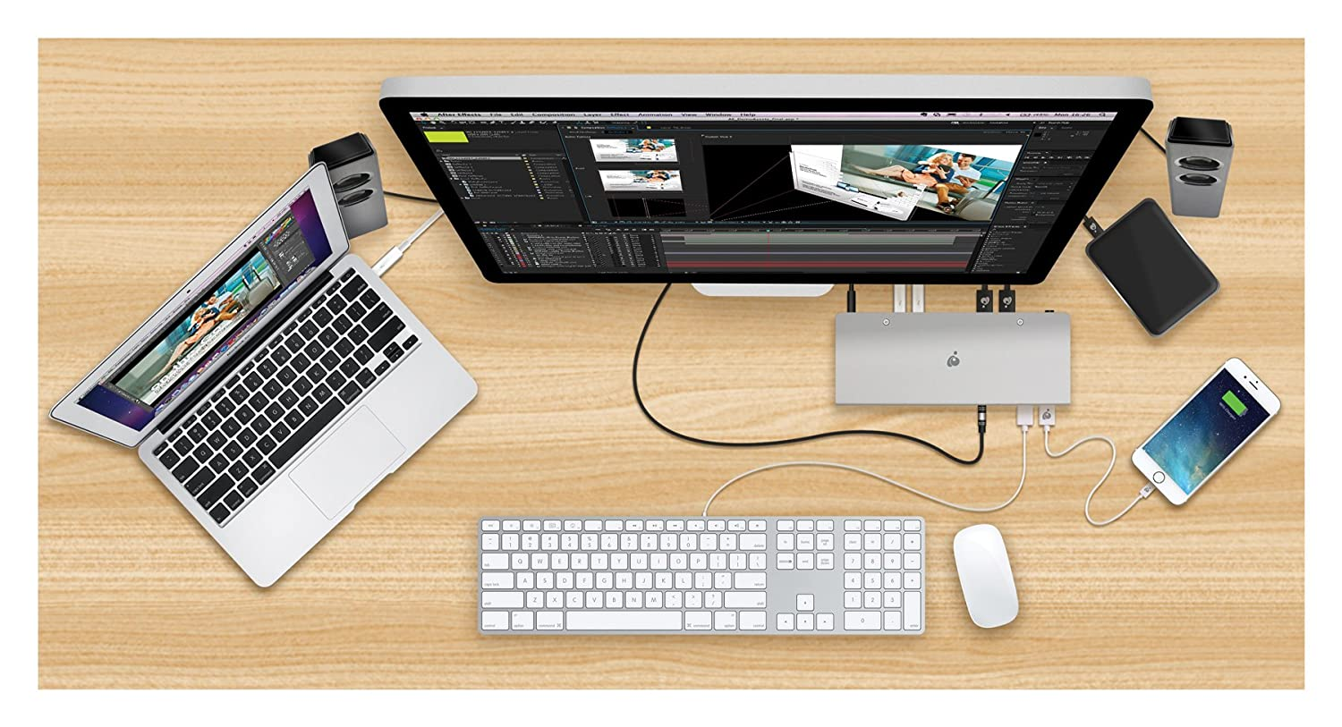 GUD3C02 IOGEAR USB-C Ultra-Slim Dual Display Docking Station with Power Delivery