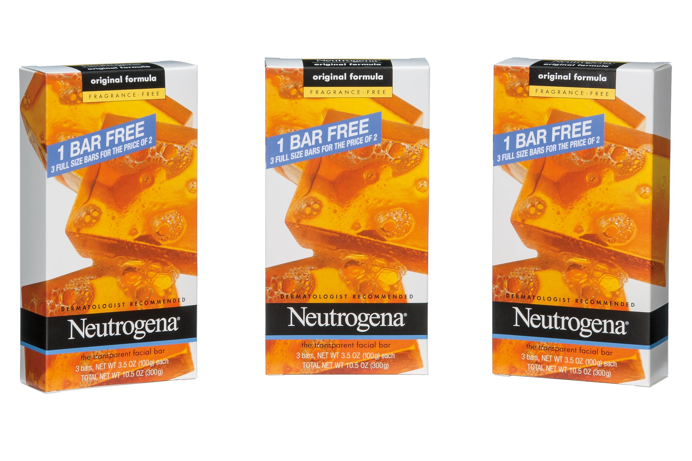 Neutrogena Transparent Facial Bar, Unscented Pack, 3.5 OZ, 3 Count (Pack of 6) by Neutrogena