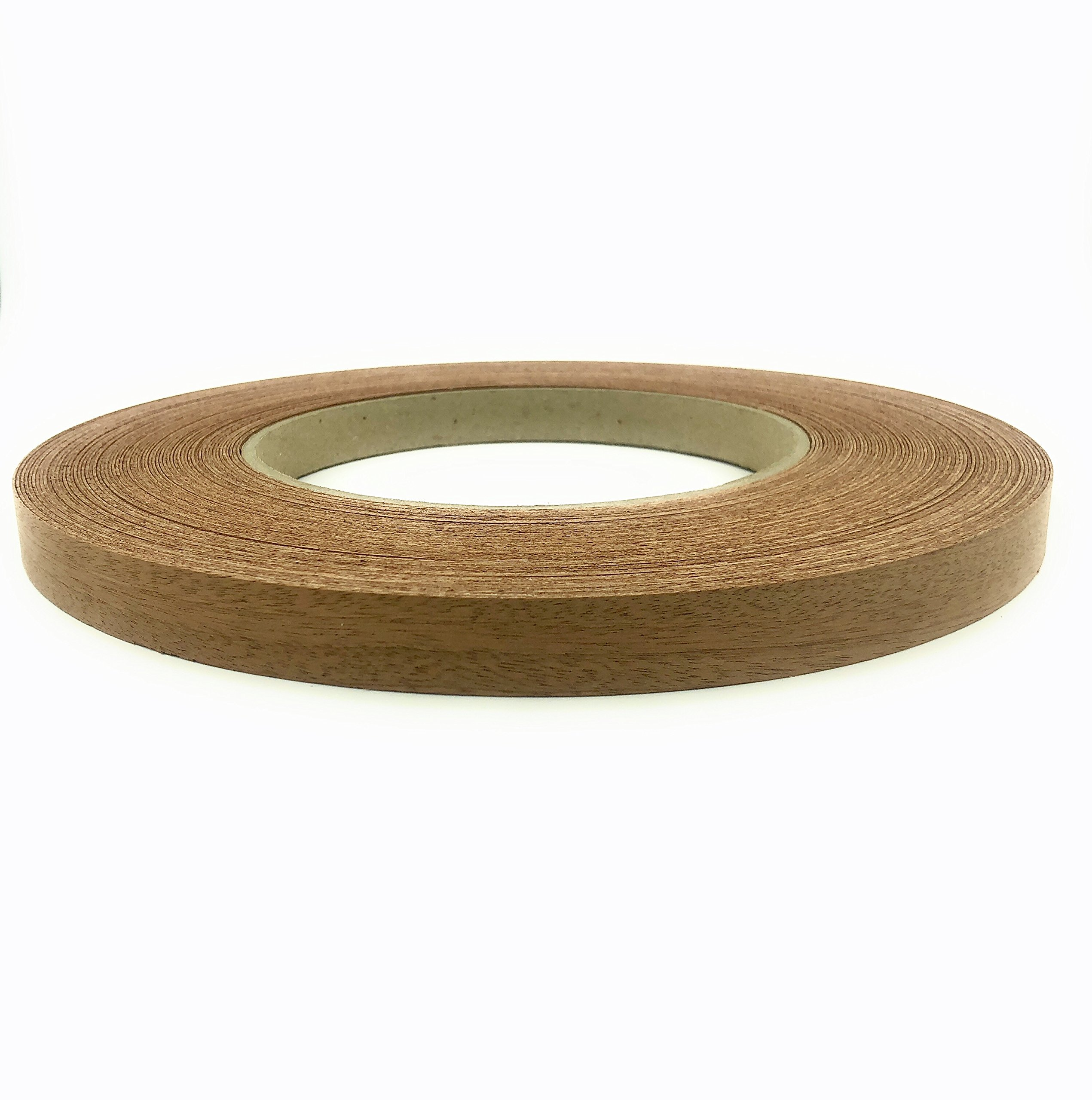 Mahogany 3/4'' X 250' Wood Veneer Edgebanding Preglued Roll. Easy Application Iron On with Hot Melt Adhesive. Smooth Sanded Finish. Flexible Edging. Made in USA.