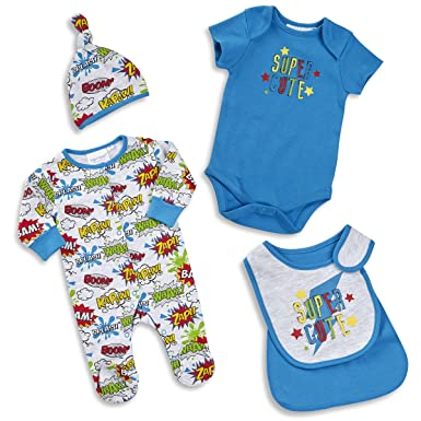 76bbfcc34 Amazon.com: BABYTOWN Newborn Baby Boy Superhero Comic Themed 4 Piece Sleeper  Set: Clothing