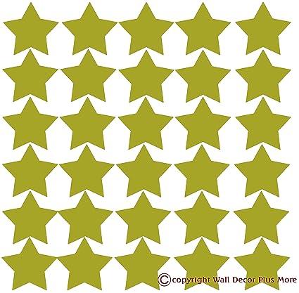 Wall Decor Plus More Wdpm272 Star Vinyl Stickers For Home Decor 2 Inch Peel N Stick Metallic Gold 30 Piece