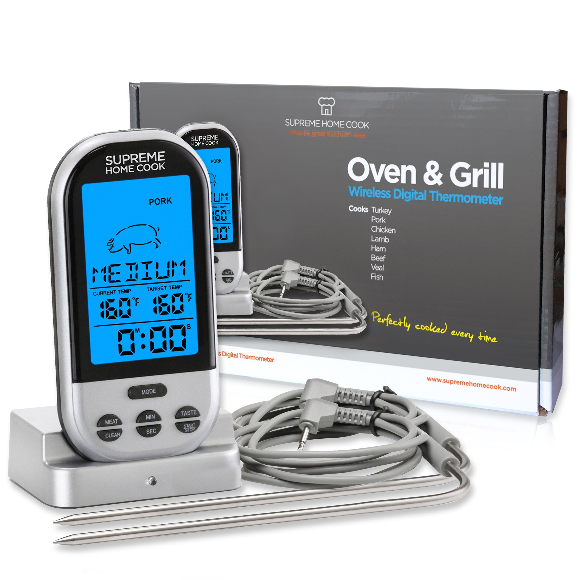 Supreme Home Cook Wireless Oven and Grill Digital Long Range Meat Thermometer with Timer