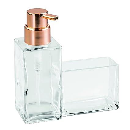 InterDesign Casilla Glass Soap Dispenser Pump and Sponge Caddy - Kitchen  Sink Organizer, Clear/Copper
