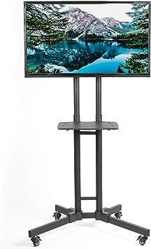 VIVO - Carrito de TV de altura ajustable con estante para pantallas planas LCD LED   Soporte de TV con ruedas para pantallas de 32 a 65 pulgadas (STAND-TV05K): Amazon.es: Electrónica