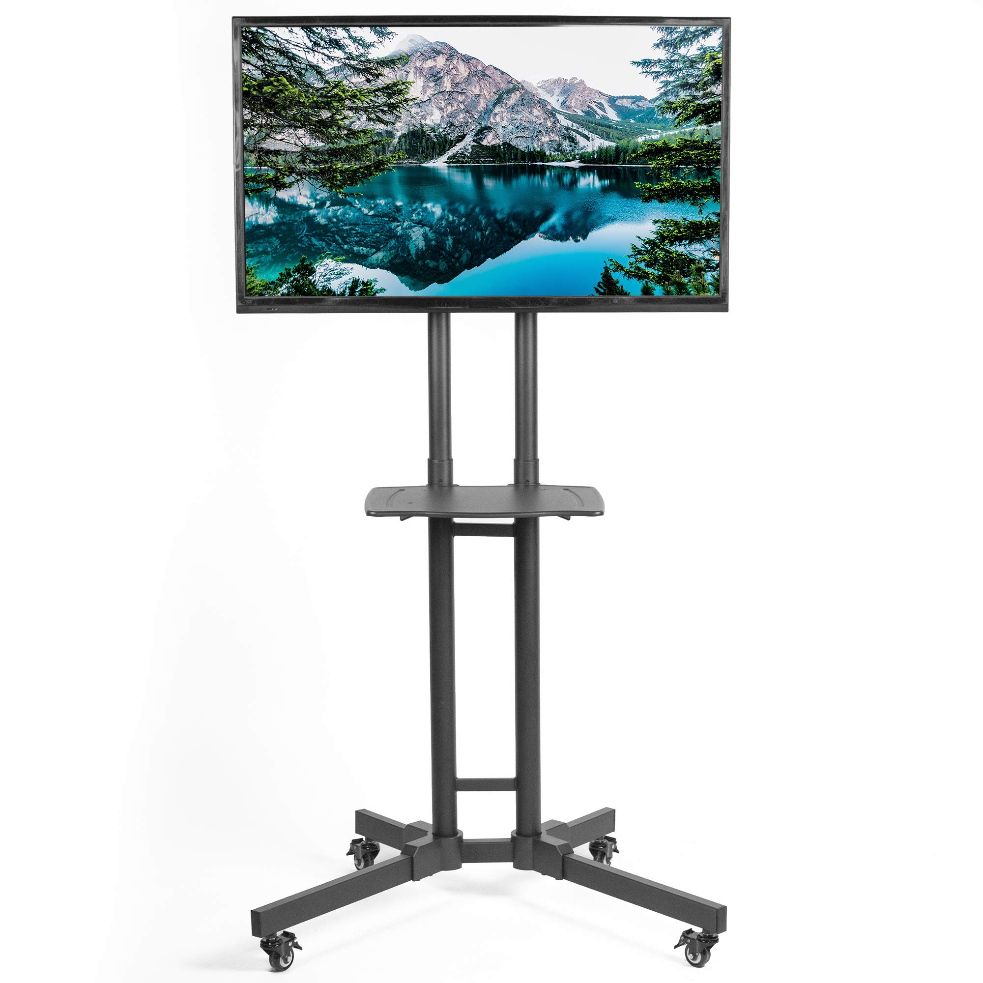 VIVO Mobile TV Cart for 32 to 65 inch LCD LED Flat Screens | Height Adjustable TV Stand Mount with Shelf and Wheels (STAND-TV05K)