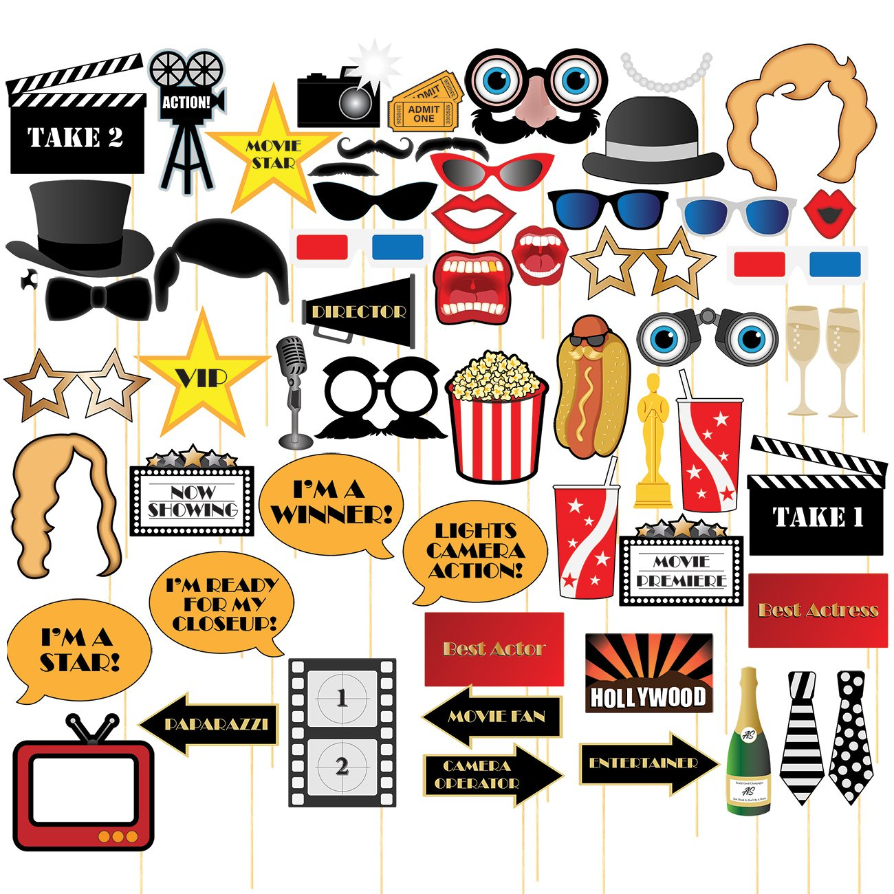 Movie Night Photo-Booth Props – 60-Pack Hollywood Party Selfie Photo Props Accessories, Birthday Party Supplies on Bamboo Sticks, Assorted Designs