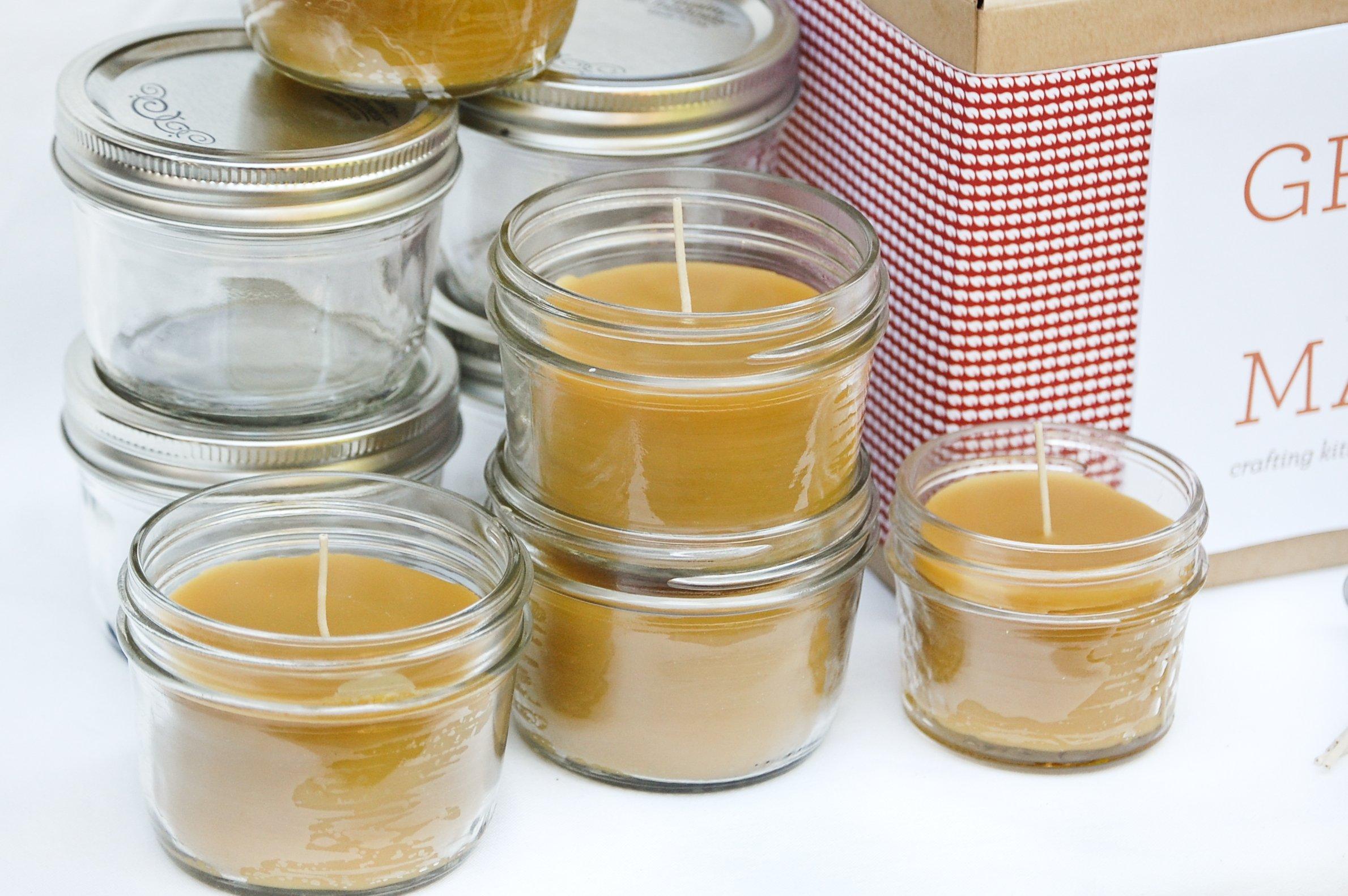 Deluxe DIY Beeswax Large Mason Jar Candle Making Kit - Makes 6 8oz Candles