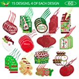 Christmas Gift Tags 60 Count with Untied String