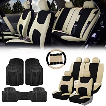 Truck Airbag /& Split Ready w Beige//Black- Fit Most Car SUV FH Group FB030115 Light /& Breezy Flat Cloth Full Set Car Seat Covers Set or Van Gift
