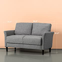 Zinus Classic Upholstered 53.5in Sofa Couch/Loveseat, Soft Grey