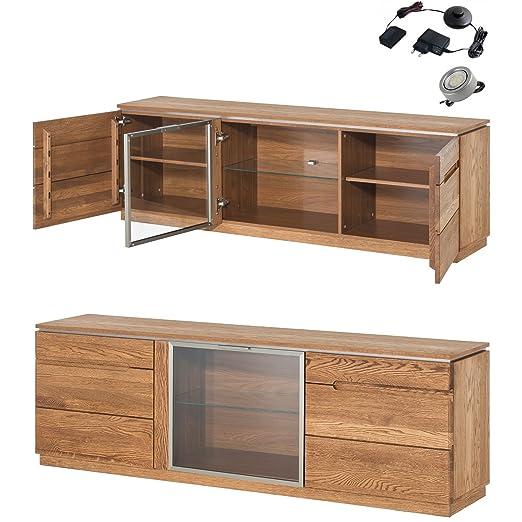 fabulous furnitureeu kommode sideboard lowboard montenegro eiche natur furniert massivholz eiche mit pkt led with sideboard eiche natur