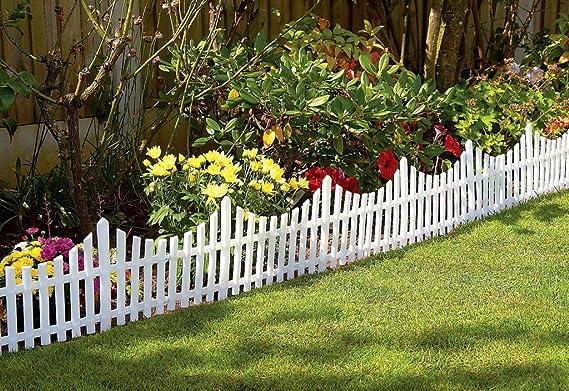 Juego de 4 paneles Great Ideas pequeños para valla de jardín, de plástico con efecto de madera, para parterres de flores y delimitar el borde del césped: Amazon.es: Jardín