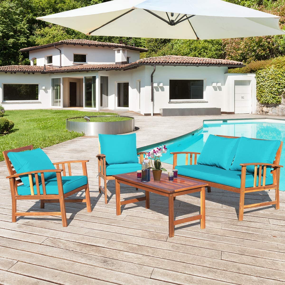 Tangkula 4 PCS Acacia Wood Patio Furniture Set, Outdoor Seating Chat Set w/Gray Cushions Back Pillow, Outdoor Conversation Set w/Coffee Table for Garden, Backyard, Poolside (Turquoise)