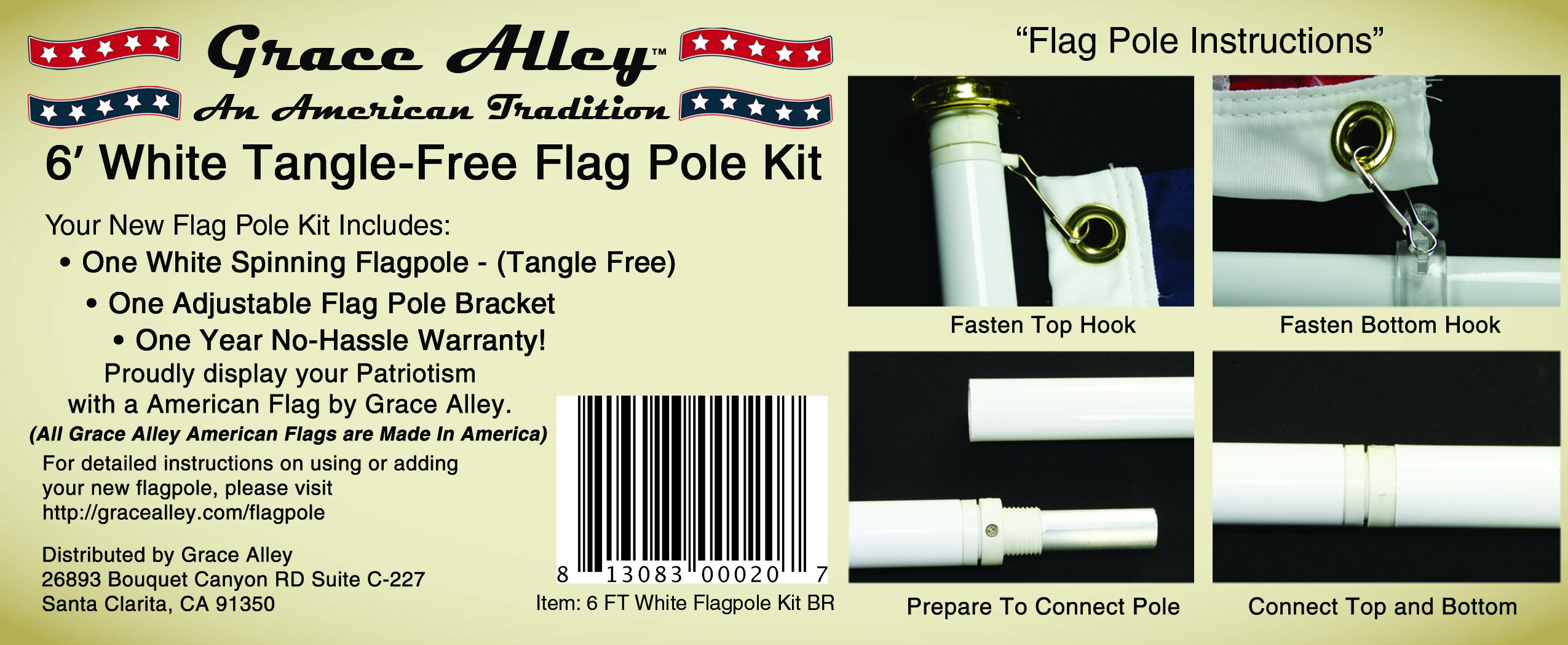 Flag Pole Kit: Outdoor Flag Pole Kit includes Tangle Free Spinning Flagpole and Flagpole bracket White by Grace Alley (Image #4)
