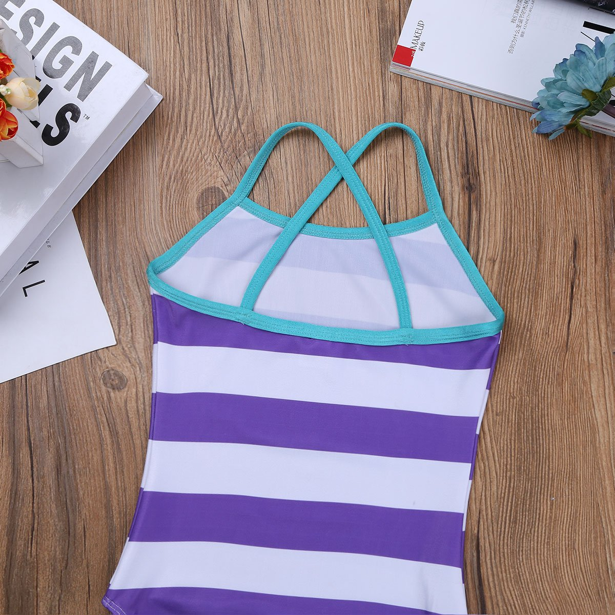 CHICTRY One Piece Swimsuit Cute Stripes Crossback Bathing Suit Swimwear for Baby Little//Big Girls