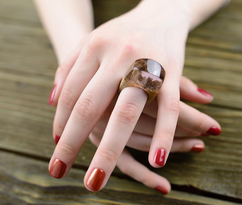 Amazon.com: OKTIE Pink Wood Resin Ring HandMade Wooden Gift for Her ...