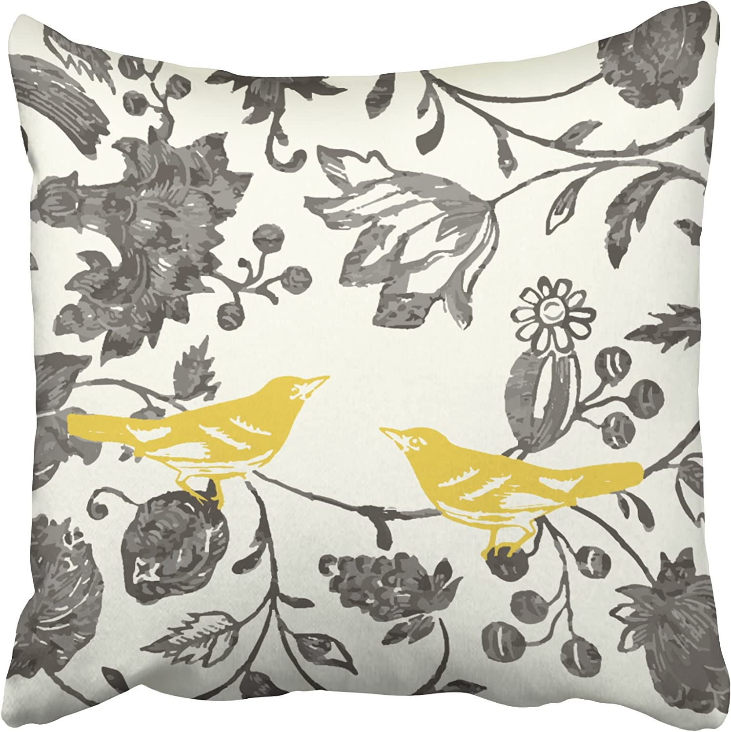 Amazon Com Emvency Decorative Throw Pillow Cover Square Size 16x16 Inches Trendy Yellow Gray Ivory Vintage Floral Bird Lumbar Pillowcase With Hidden Zipper Decor Cushion Gift For Holiday Sofa Bed Home Kitchen
