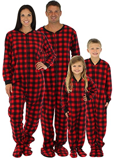 eeb9f62bfdb4 Amazon.com  SleepytimePjs Family Matching Red Plaid Fleece Onesie ...