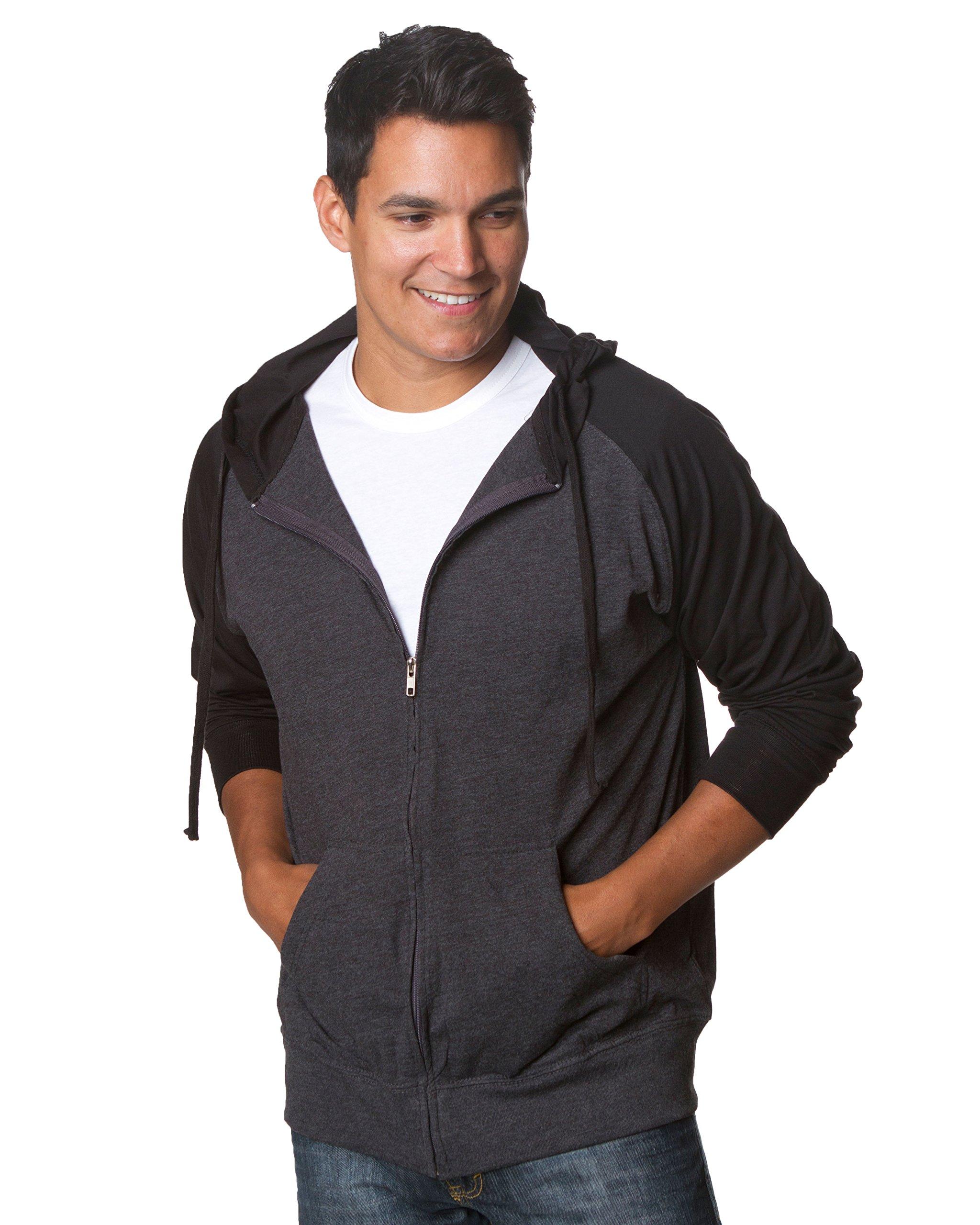 Mens Lightweight Hoodie Soft T-Shirt with Zipper and Pockets XL Charcoal/Black