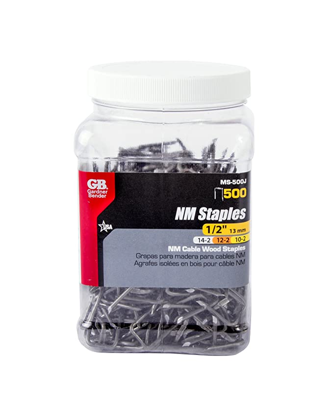 Gardner Bender MS-500J Metal Cable Staple, Contractor Pack, ½ Inch ...