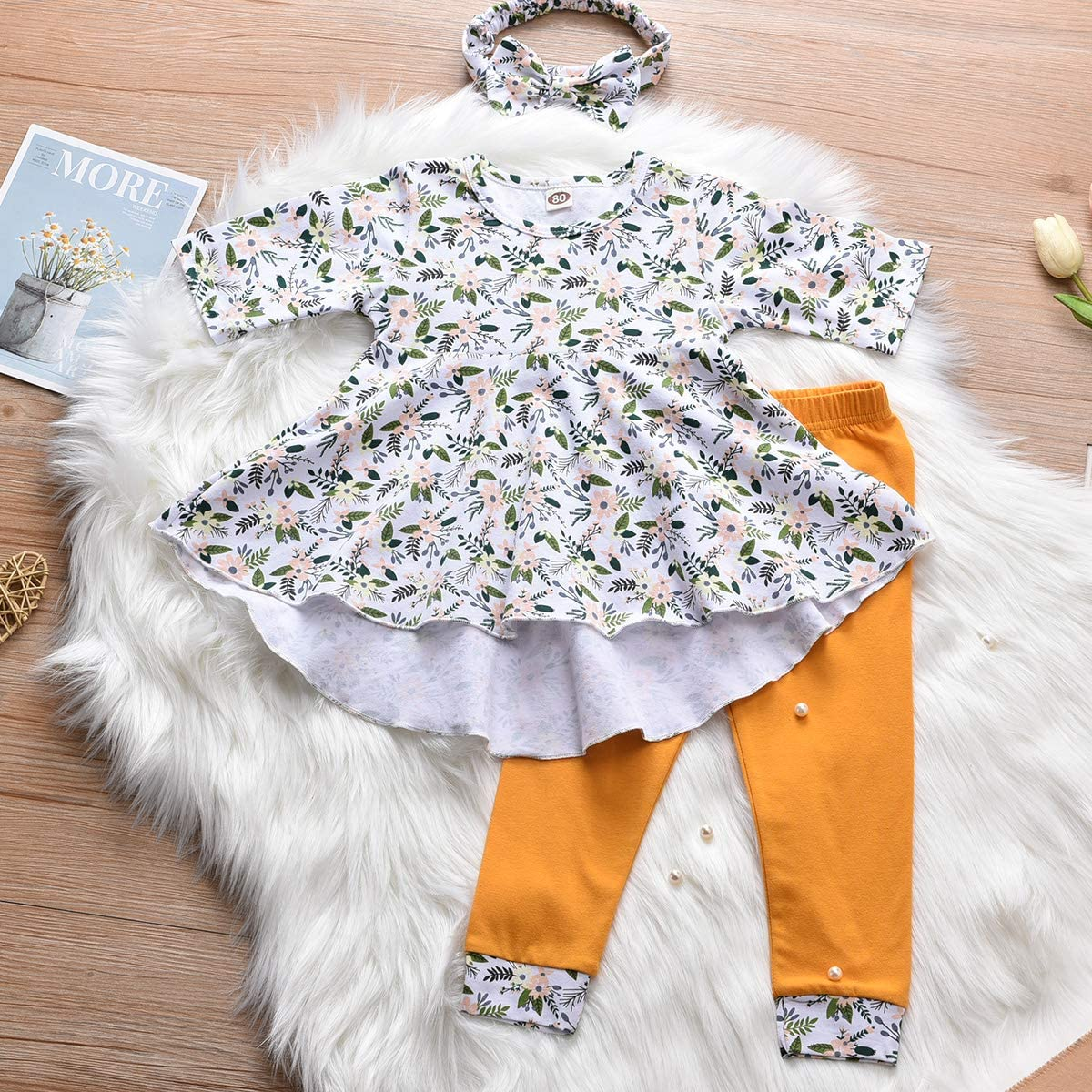 Fioukiay Toddler-Girls-Fall-Clothes-Set Little Girls Highlow Tunic Tops+Leggings Outfit Boutique Clothing