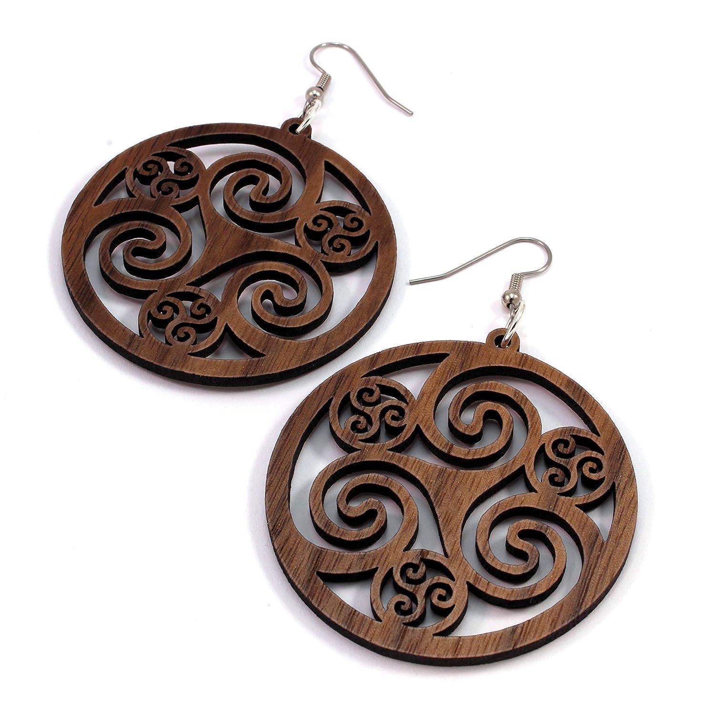 2 Celtic Hoop Earrings made of Sustainable Walnut Wood - Hook Dangle Drop Wooden Earrings Large