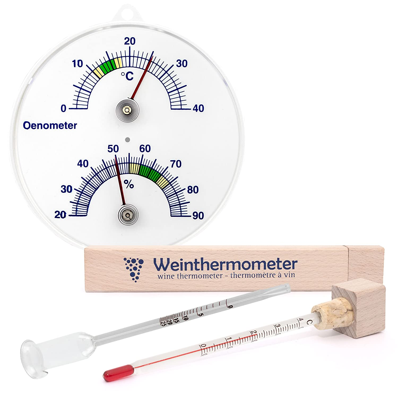 Lantelme 3 tlg. Ö nometer mit Thermometer und Hygrometer, Weinthermometer im Holz Etui und Glas Wein Vinometer Set