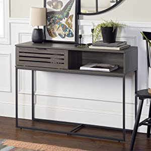 Walker Edison Furniture Company Modern Slatted Wood Rectangle Entryway Accent Drawer Living Room Storage Entry End Table, 42 Inch, Slate Grey