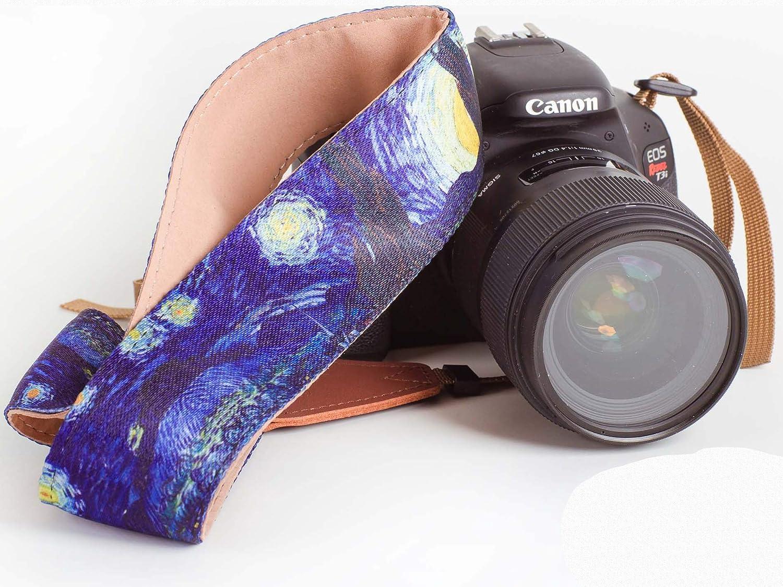ユニバーサルカメラストラップwith Artistic &鮮やかなデザイン – ユニバーサルDSLRヴィンテージネックショルダーカメラベルトfor Canon、Fujifilm、Nikon、Sony、デジタルカメラ& More – Starry Night by Vincent Van Gogh B077KWKNQG
