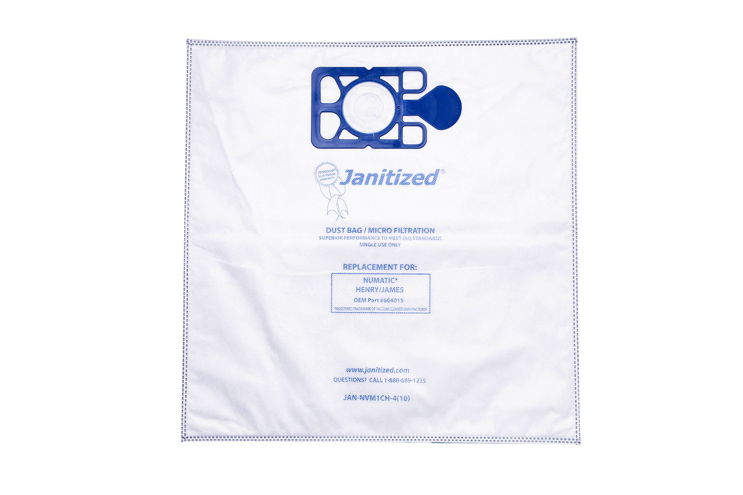 Janitized JAN-NVM1CH-4(10) High Efficiency Premium Replacement Commercial Vacuum Bag for Nacecare & Numatic Henry/James Vac bag for models 200, 225, 235, 250, 252 & 260 Vacuum Cleaners (Case of 100)
