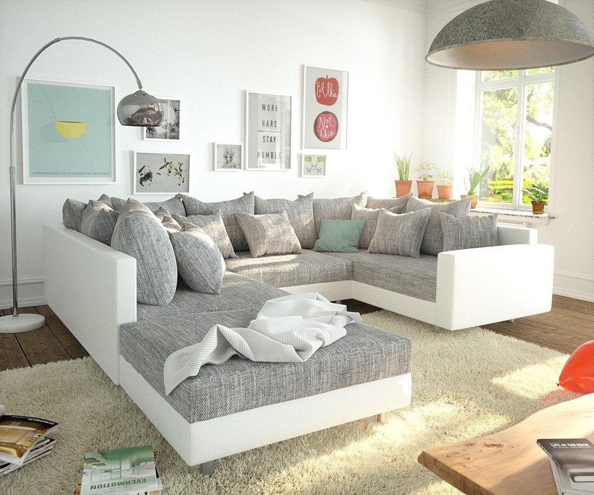 Couch Clovis Weiss Hellgrau Hocker Armlehne Wohnlandschaft Modulsofa