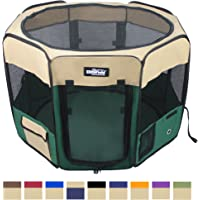 "EliteField 2-Door Soft Pet Playpen, Exercise Pen, Multiple Sizes and Colors Available for Dogs, Cats and Other Pets (30"" x 30"" x 20""H, Beige+Green)"
