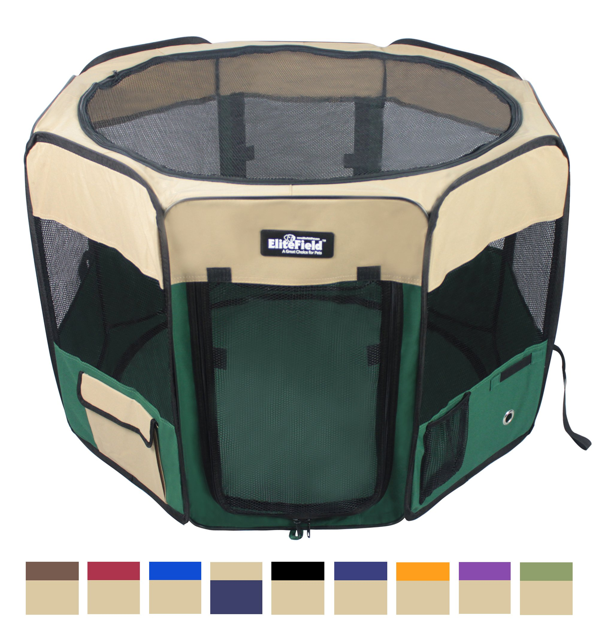 EliteField 2-Door Soft Pet Playpen, Exercise Pen, Multiple Sizes and Colors Available for Dogs, Cats and Other Pets (62'' x 62'' x 36''H, Beige+Green)