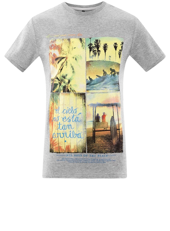 oodji Ultra Hombre Camiseta Ancha con Estampado de Playa: Amazon.es: Ropa y accesorios