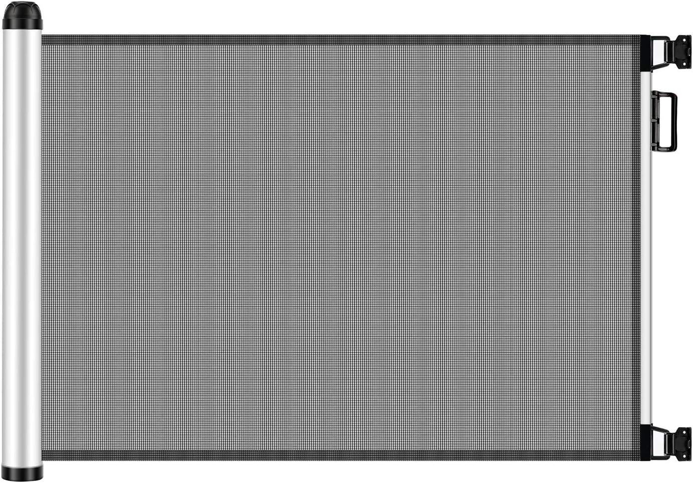Meinkind Barrera Seguridad Niños Escalera, 0 cm-120 cm * 80 cm Valla Seguridad Infantil Escalera, Retráctil Puerta Enrollable Bebe, Puerta Seguridad Bebe y Mascota, Barrera Escalera Bebe, gris