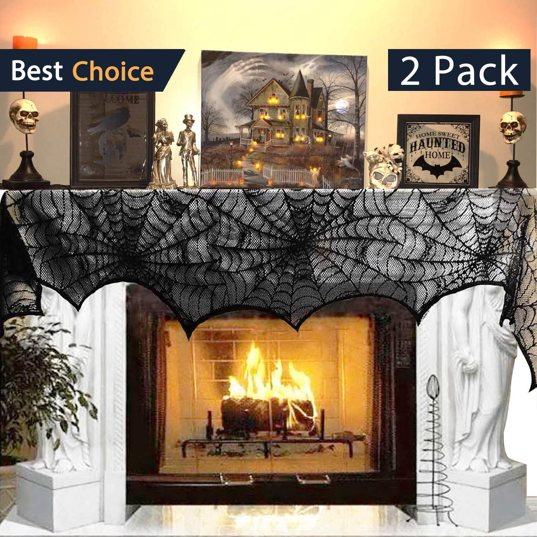 Jolik 2 Pack Halloween Decoration Spiderweb Fireplace 18 x 96 inch Mantle Scarf Cover Festive Halloween Supplies (Black)