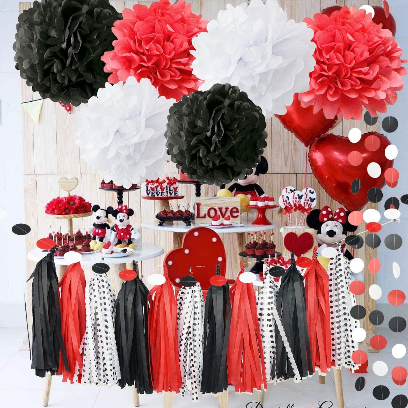 Amazon Com 2021 Graduation Decorations Party Supplies Red And Black Minnie Mouse White Baby Ladybug Birthday First Tissue Paper Pom Home Kitchen