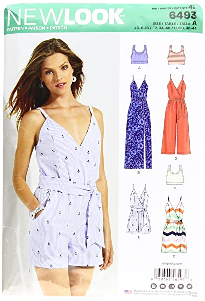 b1d4a5828e5ecb New Look Pattern 6493 Misses  Jumpsuit and Dress in Two Lengths with  Bralette
