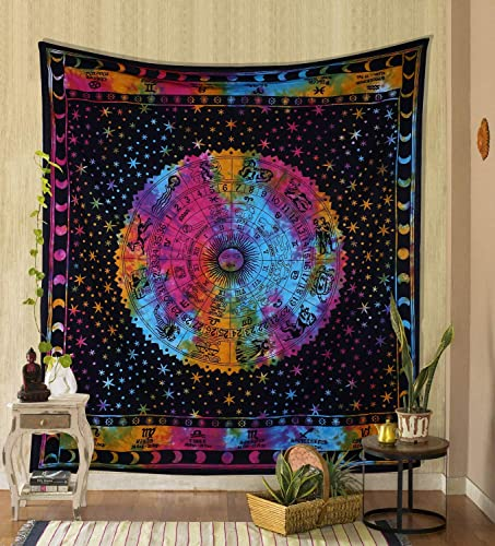 THE ART BOX Rainbow Zodiac Tapestry Wall Hanging Horoscope Tapestry Dorm Room Tapestries Hippie Tapestry Indian Astrology Trippy Celtic Psychedelic Tapestry Wall Hanging Space Rashi Tapestry