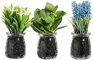 7 Inches Artificial Potted Plants,Artificial Tabletop Plants for Home and Office Decor, Including Lavender, Basil Leaves, Water Grass with Glass Vase, Set of 3