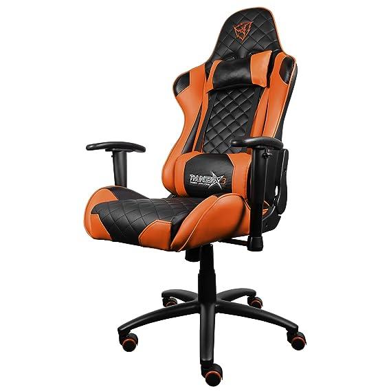 ThunderX3 TGC12BO- Silla gaming profesional- (Cuero Sintético, Inclinación y Altura regulable, Apoyabrazos) Color Negro y Naranja: Amazon.es: Videojuegos
