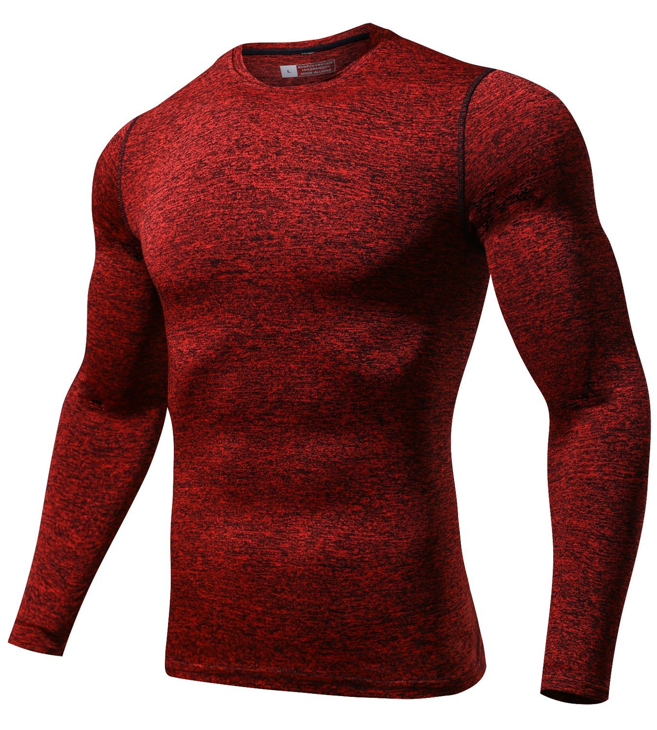 laventoメンズCool Dry圧縮ベースレイヤークルーネック長袖Running Shirts m3612 B07G2JB93L Large|1 Pack-3612H Red 1 Pack-3612H Red Large