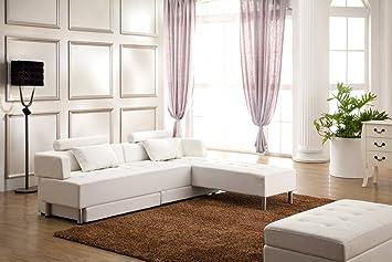 Designer Eckcouch Couch Sofa Wohnlandschaft Julia Weiss 5 In 1