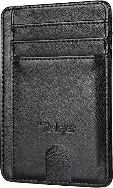 MENS RFID BLOCKING REAL LEATHER SLIM WALLET WITH ID /& SECURE ZIP COIN POCKET 121