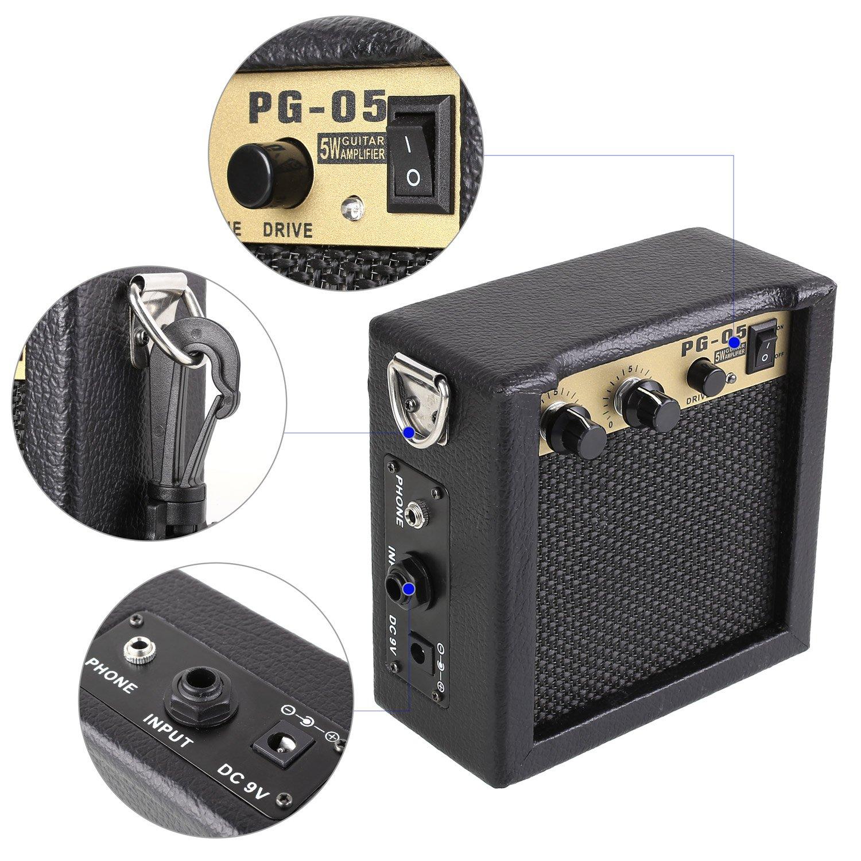 MVPOWER Amplificador para Guitarra Combo de Guitarra Altavoz para Guitarra Amplificador Portátil Mini Combo con Batería 12.8*12.8*7.5: Amazon.es: ...