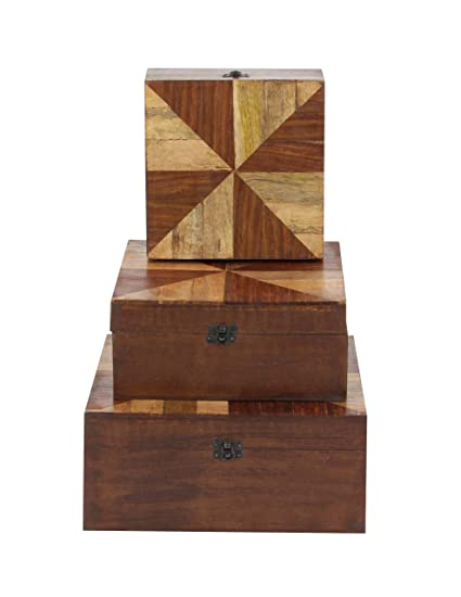 Amazon Com Deco 79 96096 Wooden Color Wheel Boxes Set Of 3 8 X