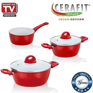 DIS1 Cerafit Style | ollas Incluye Cazo | 5 piezas, revestimiento de cerámica, Conocido Por TV | nuevo rojo: Amazon.es: Hogar