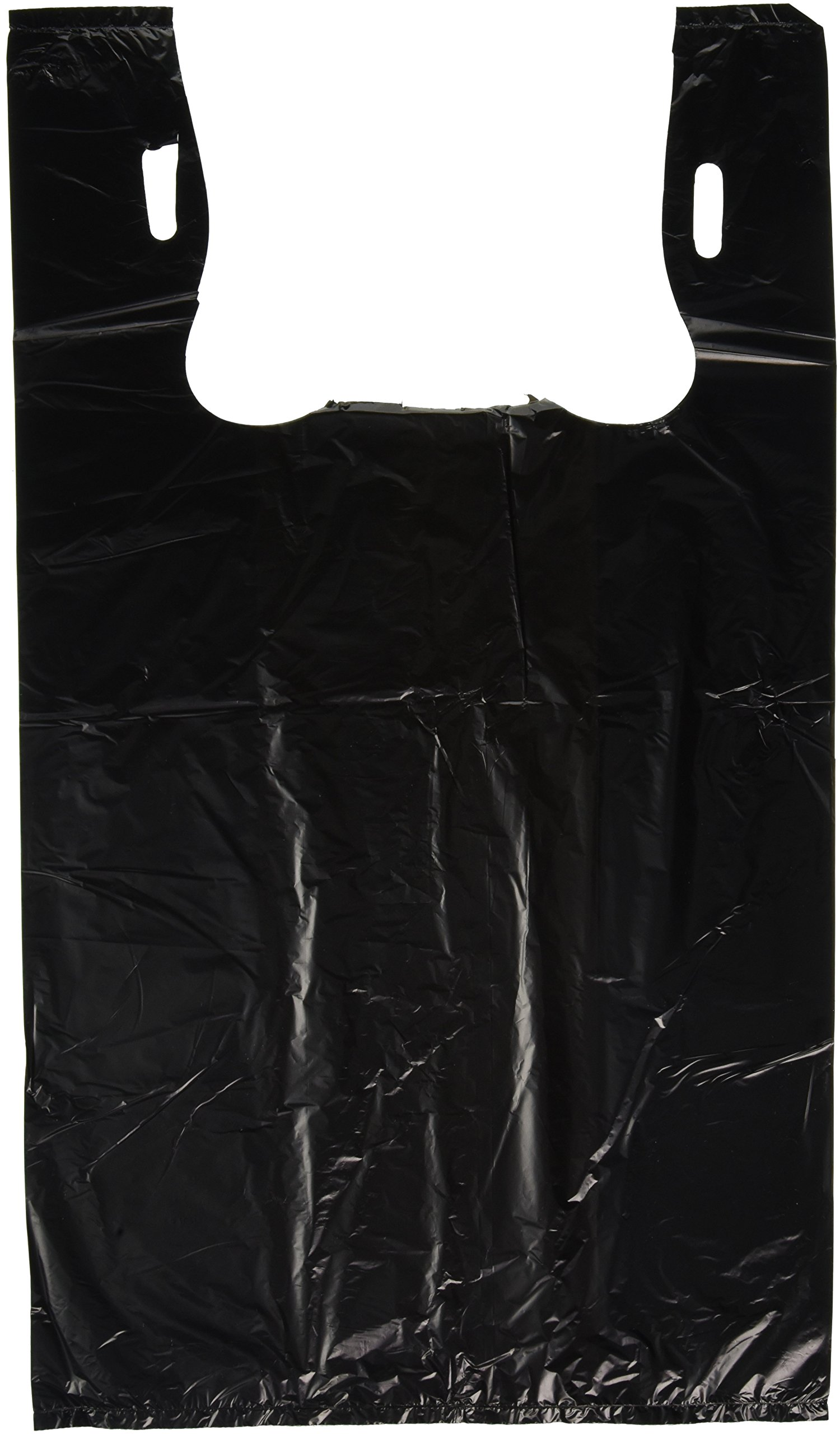 Plastic Bag-Black Plain Embossed T-Shirt Bag 11.5''x6.5''x21.5'' 13 mic - 1000 bags/case