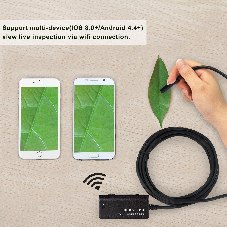 iPhone 7 Endoscopio Inal/ámbrico 7 Pl Depstech Wireless WiFi Digital Boroscopio Endoscopio Camara de Inspeccion de 2.0 Megapixeles CMOS HD Camara de la Serpiente 6 LED para Andorid y IOS Smartphone